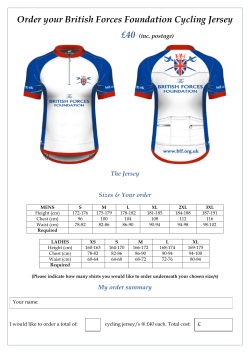 BFF Cycling Jersey Order Form - The British Forces Foundation