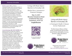 Living with Brain Injury: Barriers in Everyday Life Living with Brain