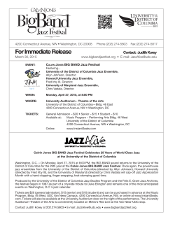 For Immediate Release - Calvin Jones BIG BAND Jazz Festival