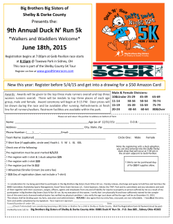 9th Annual Duck N` Run 5k June 18th, 2015