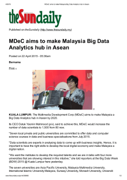MDeC aims to make Malaysia Big Data Analytics hub in Asean