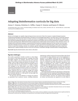 Adapting bioinformatics curricula for big data