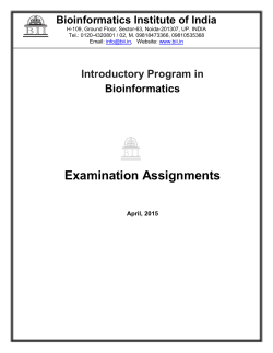 Exam Assignment. - Bioinformatics Institute of India