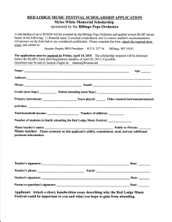 scholarship form - Billings Pops Orchestra
