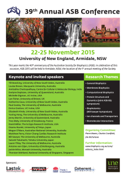 39th Annual ASB Conference - the Australian Society for Biophysics