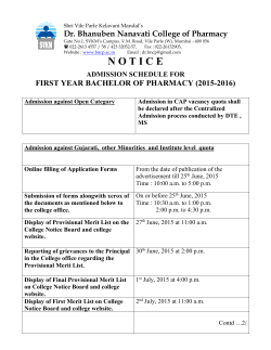 Admission Notice & Schedule for F.Y.B.Pharm 2015-16