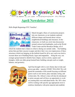 April Newsletter 2015 - Bright Beginnings NYC
