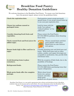 Brookline Food Pantry Healthy Donation Guidelines