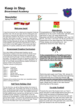 Brownmead Newsletter Spring 1 2015