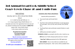 3rd Annual Broad Rock Middle School Crazy Coyote Chase 5K and