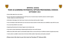 YEAR 10 LEARNING PATHWAYS/ OPTION