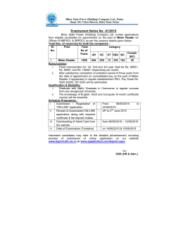 Employment Notice No. -01/2015