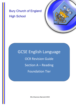 Foundation Reading Guide - Bury Church of England High School