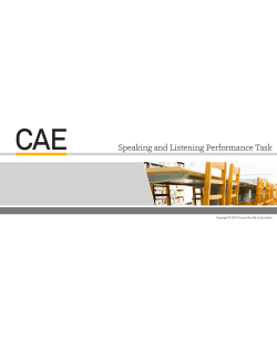 Speaking and Listening Performance Task