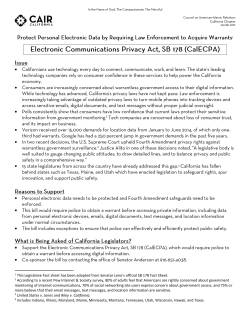 SB 178- Electronic Communication Privacy Act (CalECPA) Fact Sheet