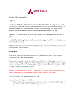 "Axis Bank Mobile Recharge Offer I. Definitions ""Axis Bank Mobile"