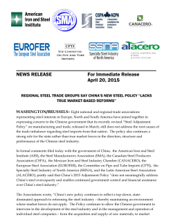 FOR IMMEDIATE RELEASE - Canadian Steel Producers Association