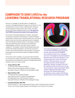 CAMPAIGN TO SAVE LIVES for the LEUKEMIA TRANSLATIONAL