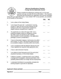 Minimum Qualifications Checklist: Diplomatic Courier