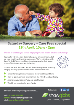 Saturday Surgery - Care Fees special 11th April, 10am
