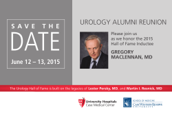 UROLOGY ALUMNI REUNION - School of Medicine