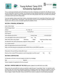 Young Authors Camp Scholarship Form 2015