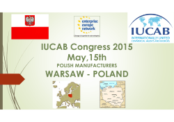 IUCAB Congress 2015 May,15th WARSAW - POLAND