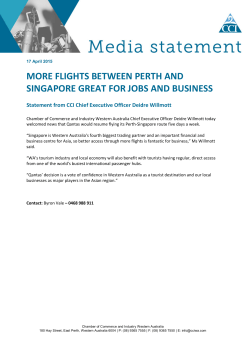 MORE FLIGHTS BETWEEN PERTH AND SINGAPORE GREAT FOR