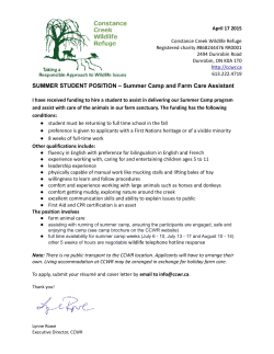 SUMMER STUDENT POSITION – Summer Camp and Farm Care
