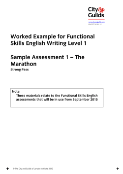 Worked Example for Functional Skills English Writing