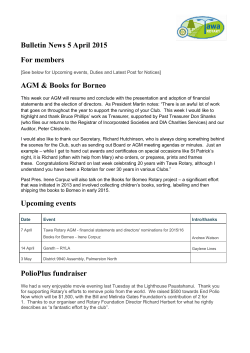 Bulletin News 5 April 2015 For members AGM & Books for Borneo