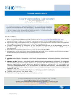 Senior Environmental and Social Consultant Vacancy Announcement