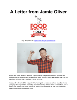 Jamie`s letter to the press