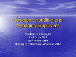 Complaint Handling and Managing Employees