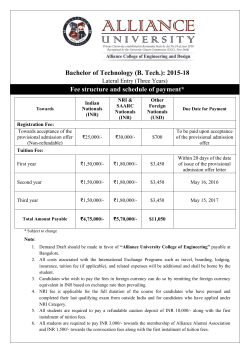 Fee schedule 2015 (Lateral) - Alliance College of Engineering and