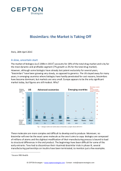 Biosimilars: the Market is Taking Off