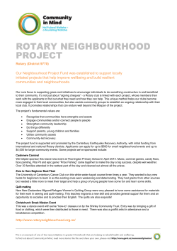 Rotary Neighbourhood Project - Canterbury Earthquake Recovery