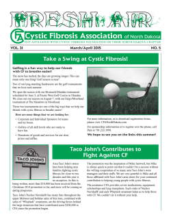 MAR-APR 15 - Cystic Fibrosis Association of North Dakota