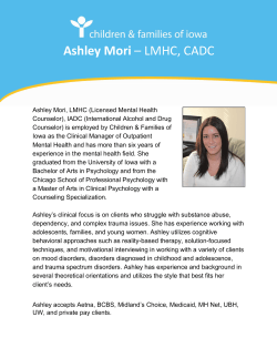 Ashley Mori – LMHC, CADC - Children & Families of Iowa