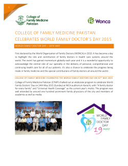 World Family Doctor`s Day- 2015 - College of Family Medicine