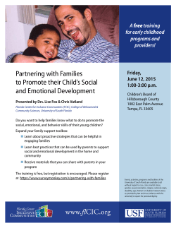 Partnering with Families to Promote their Child`s Social and