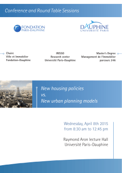 Conference and Round Table Sessions New housing policies vs