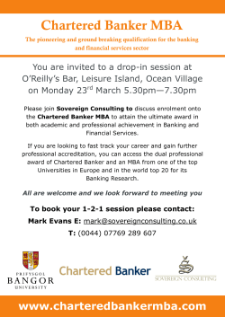 Chartered Banker MBA Gibraltar Event, 23rd of March, 2015