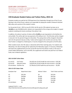 CCB Graduate Student Salary and Tuition Policy, 2015-16