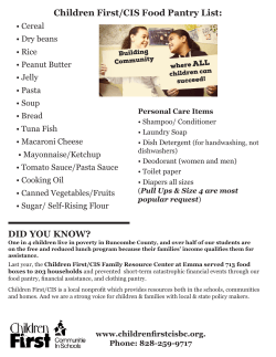 DID YOU KNOW? Children First/CIS Food Pantry List: