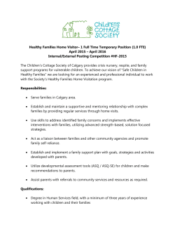 Healthy Families Home Visitor– 1 Full Time Temporary Position (1.0