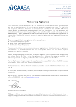 Introductory Letter - Chiropractors` Association of Australia