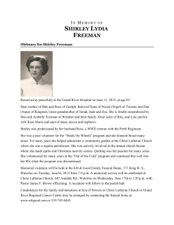 In Memory of Shirley Freeman