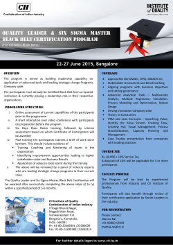 Quality Leader & Six Sigma Master Black Belt Certification Program