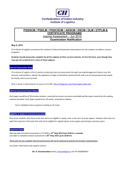 Internal Assessment Examinations Notice June 2015